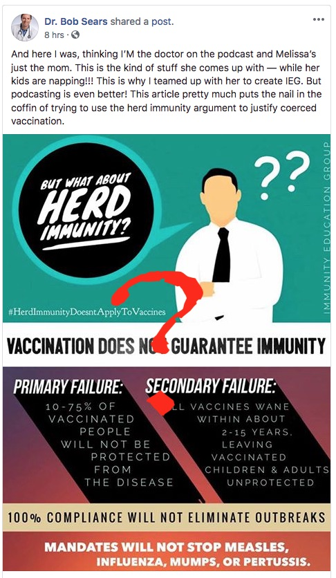 Dr. Bob seems to think that herd immunity doesn't apply to vaccines.