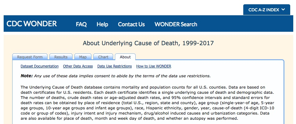 Wide-ranging Online Data for Epidemiologic Research = WONDER