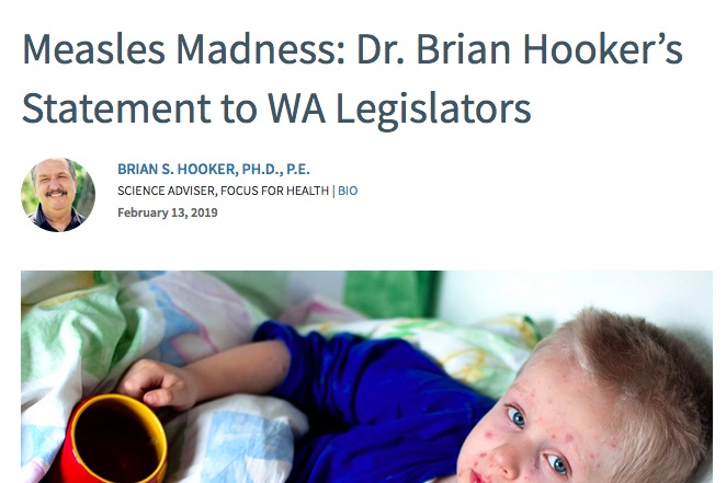 Brian Hooker makes a lot of statements about measles that mirror anti-vaccine talking points.