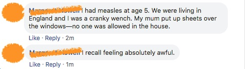 Kids with measles feel awful.