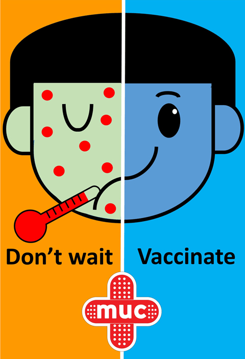 A poster in Malaysia emphasizes that you if you wait too long to get your child vaccinated and protected, then they could get sick.