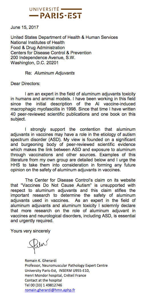 Gherardi thinks that aluminum adjuvants in vaccines may be associated with autism.