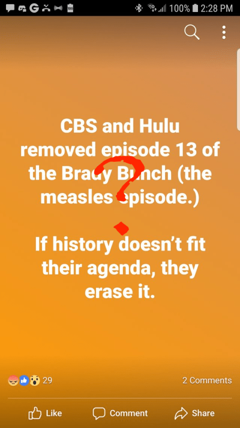 Are CBS and Hulu part of a conspiracy to silence anti-vaccine folks?