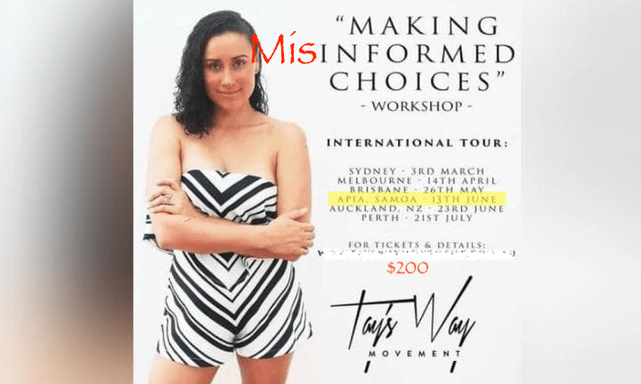 Taylor Winterstein planned an anti-vax tour across Australia, New Zealand, and Samoa.