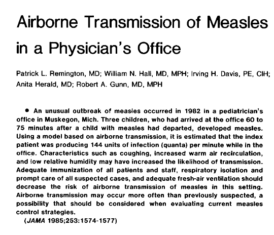 Airborne Transmission of Measles in a Physician's Office