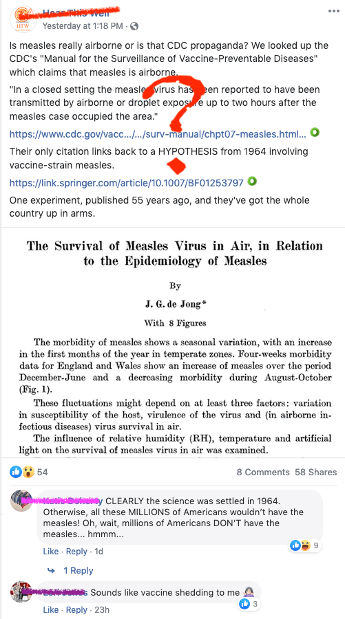 Anti-vaccine folks trying to do research about measles and miss dozens of articles describing how measles is indeed airborne.