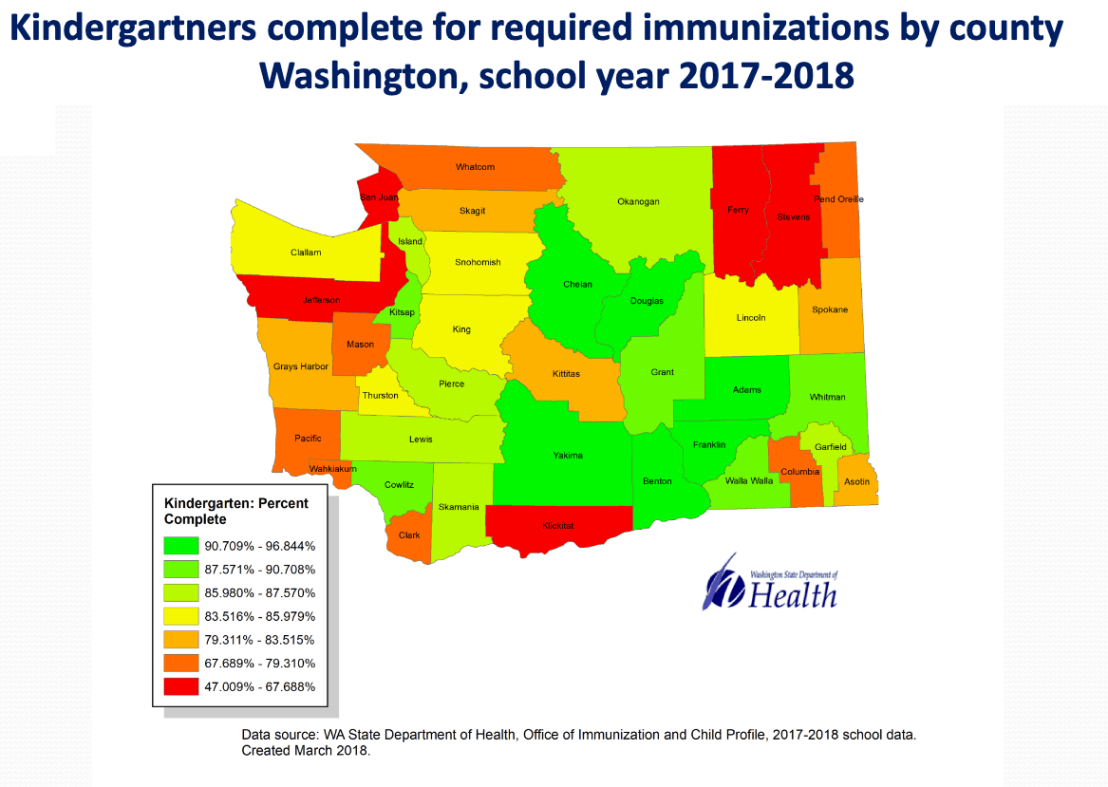 Immunization rates in the Puget Sound area are a bit better than in Clark County, where the last Pacific Northwest outbreak was centered.