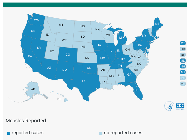 Although we are seeing measles cases in 27 states, about 70% of them are in just two outbreaks in one state - New York.