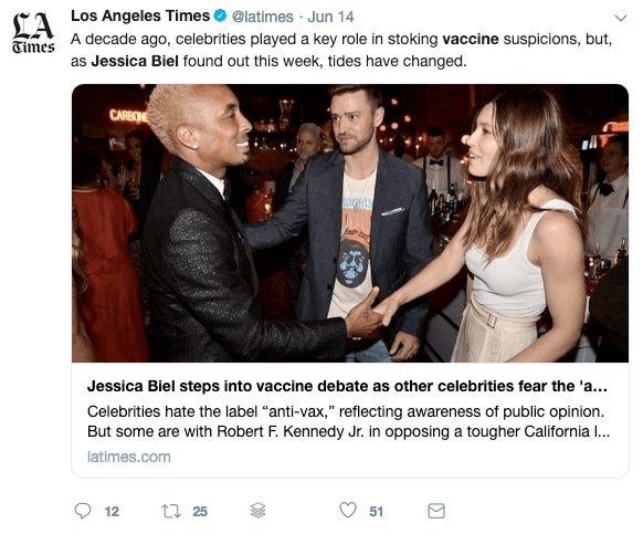 Even Jessica Biel says that she isn't anti-vaccine...
