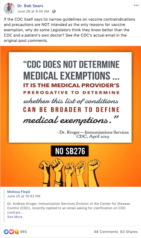 Yes, the CDC does not determine medical exemptions for vaccines. That's not news.