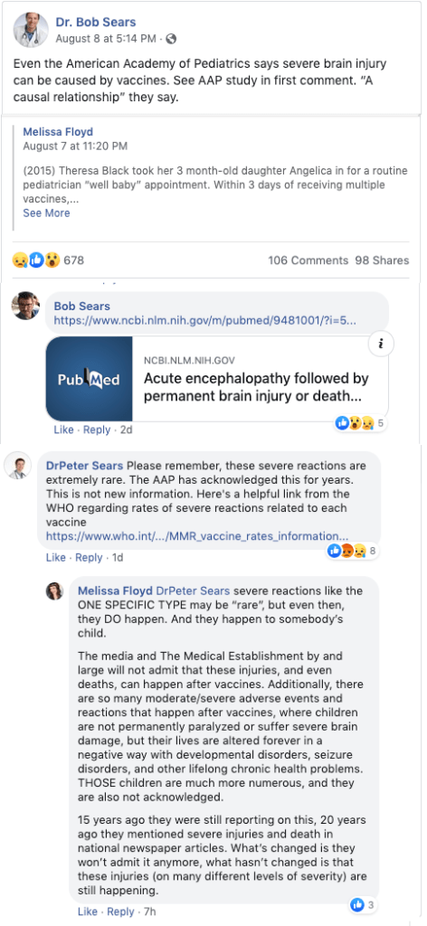 Bob Sears doesn't mention that measles is much more likely to cause severe brain injury and death, or more recent studies that counter his post.