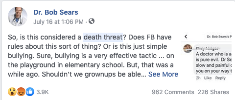 No one should have to deal with getting death threats.