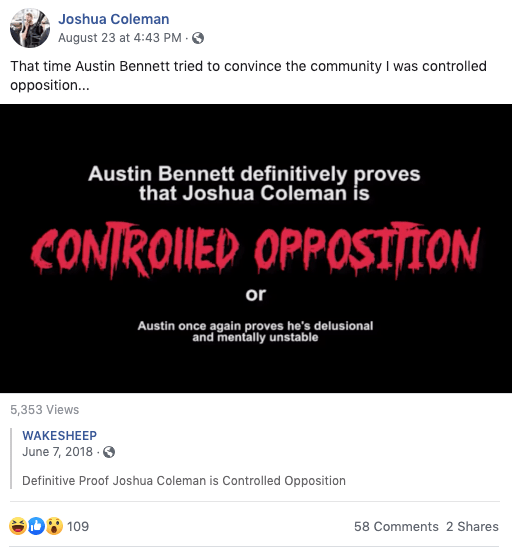 Wait, is Austin Bennett controlled opposition or is it Joshua Coleman?