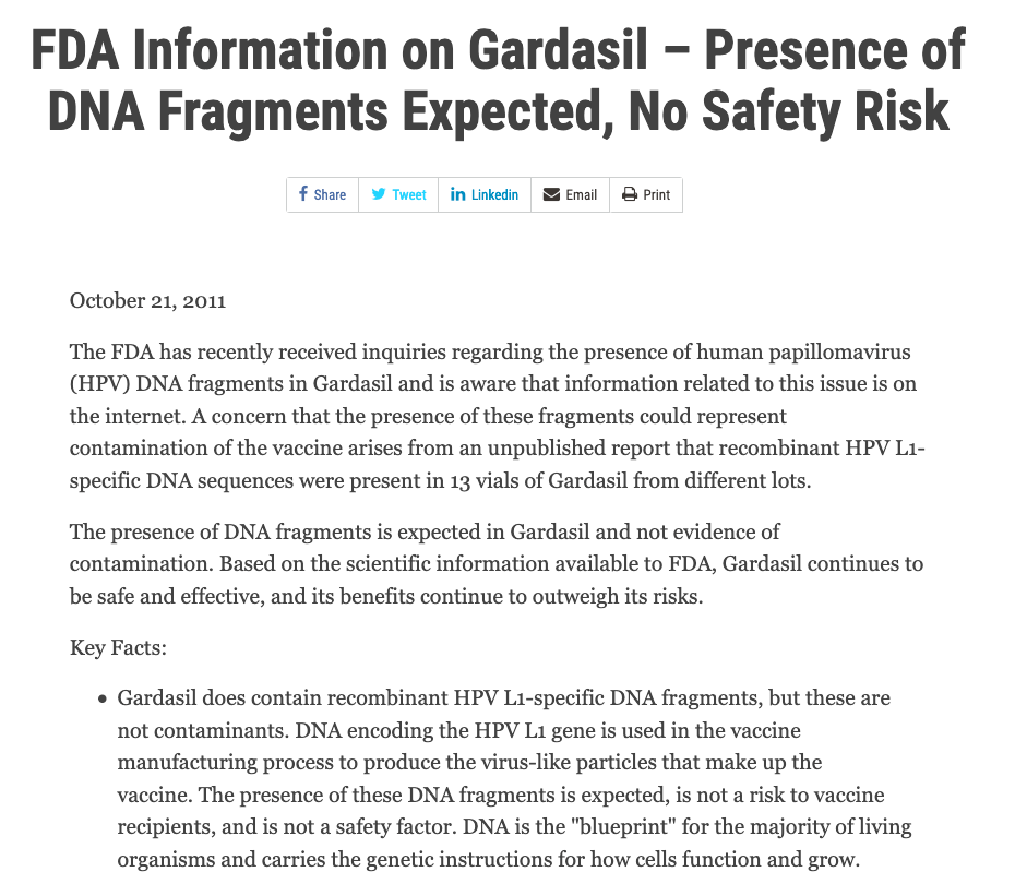 DNA fragments in Gardasil are not a contaminant and are not a safety risk.