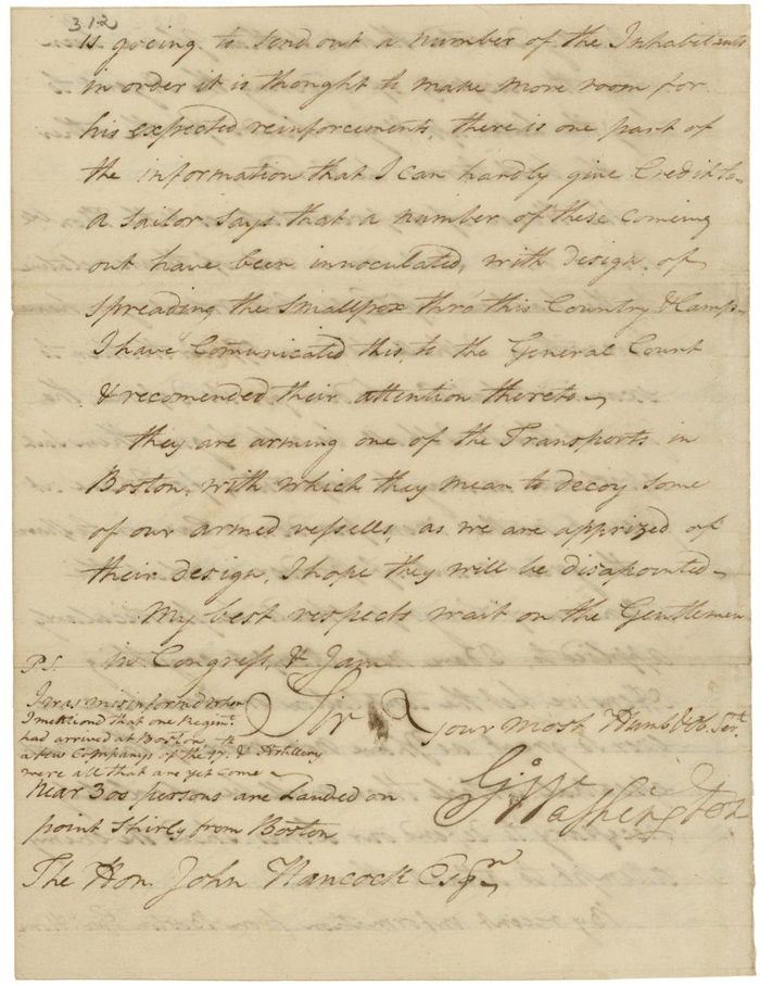 This letter from Gen. George Washington to John Hancock, President of Congress, tells of an alleged plot of the British to spread smallpox among the American troops.