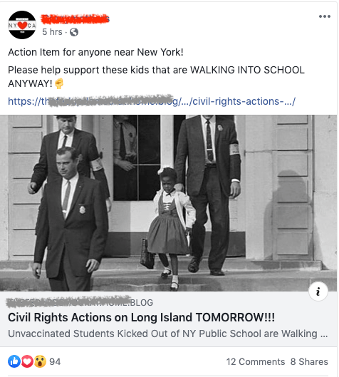It's sad that these parents think that wanting to send their intentionally unvaccinated kids to school compares to the efforts to get Ruby Bridges into school and other civil rights issues.