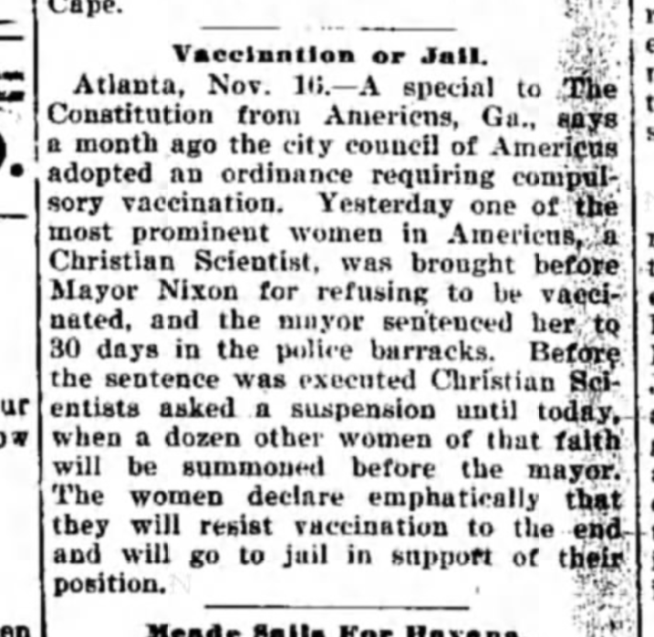 In 1899, apparently there wasn't a religious exemption to getting vaccinated.