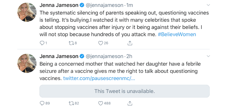 A febrile seizure after a vaccine has Jenna Jameson questioning vaccines.