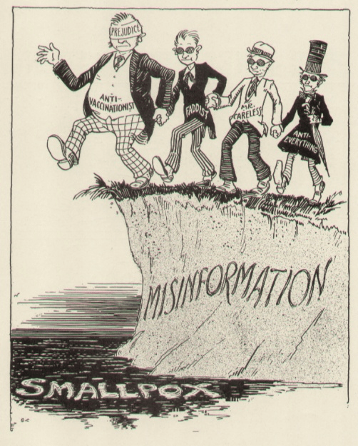 This cartoon illustrates how misinformation blindly leads people off of a cliff to their getting vaccine preventable diseases.