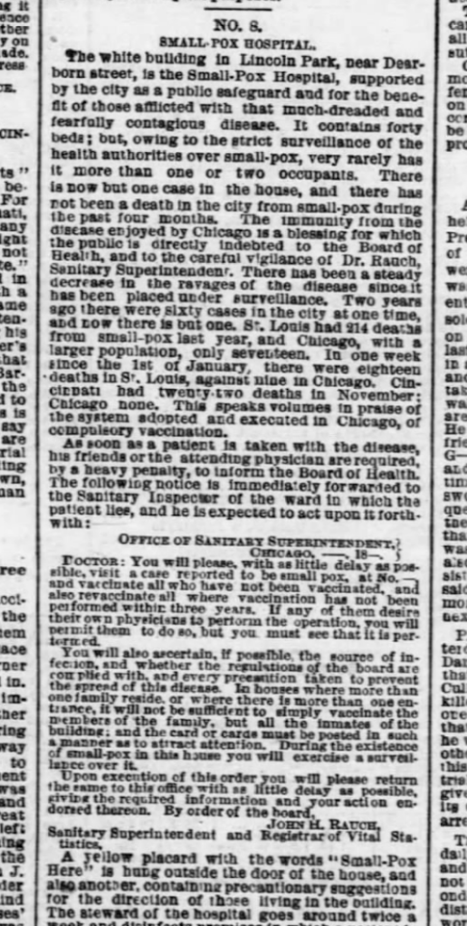 On January 18, 1870, the Chicago Tribune described how Chicago was getting smallpox under control - by getting folks vaccinated.
