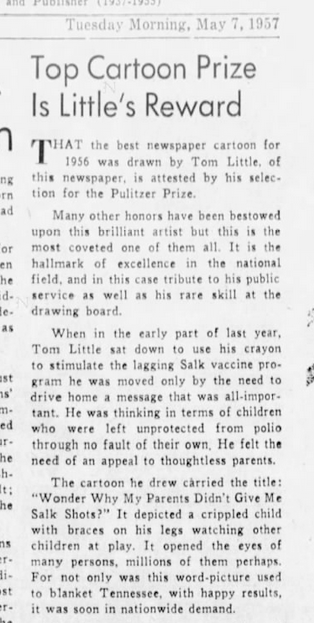 """The inspiration for Tom Little's cartoon came from thinking of the """"children who were left unprotected from from polio through no fault of their own."""""""