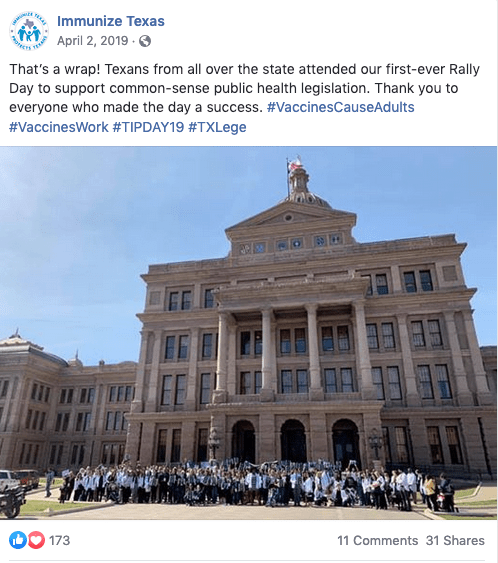Vaccine advocates in Texas.