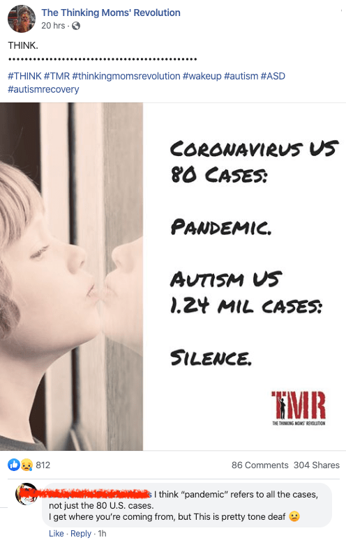 Comparing the COVID-19 pandemic to autism? Really???