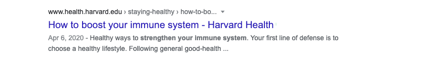 Despite the click bait title, this Harvard Health article offers no miracle tips on how to boost your immune system...