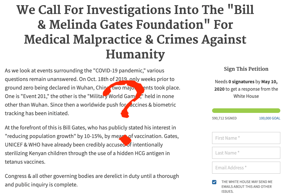 Nearly 600,000 people signed a petition because they believe conspiracy theories about Bill Gates.