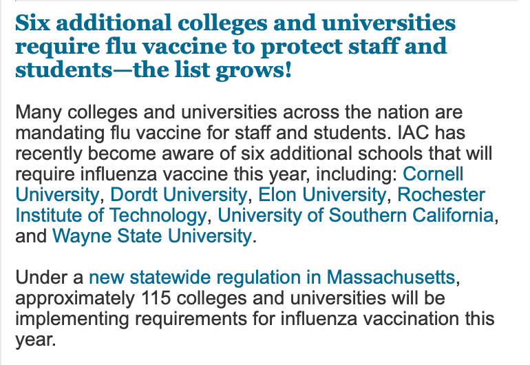 More and more colleges and universities are now requiring flu shots for all students.