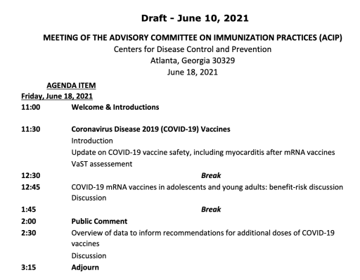 ACIP has another meeting to discuss COVID vaccine safety, especially the possible risk of myocarditis.