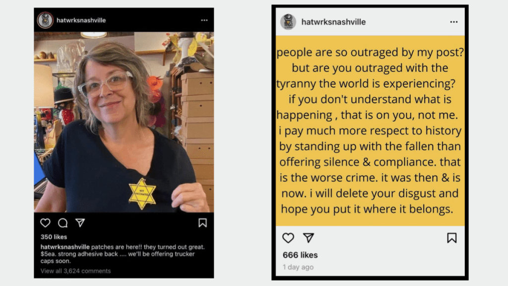 """I'll never understand how they can equate choosing to wear a """"Not Vaccinated"""" patch to the Yellow Star badges that Jews were forced to wear during the Holocaust."""