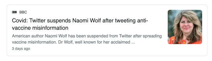 Naomi Wolf has been pushing misinformation about COVID and COVID vaccines throughout the pandemic, from chemtrails to bioweapons and shedding.