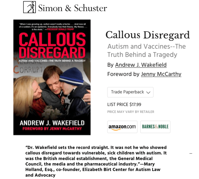 Andrew Wakefield's book is actually published by Skyhorse, but is distributed by Simon & Schuster.