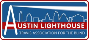 Logo of Austin Lighthouse (Travis Association for the Blind), picturing a lighthouse shedding light over a silhouette of the Austin skyline.