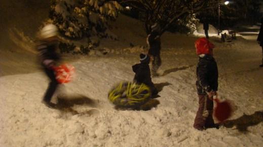Night sledging - most fun!