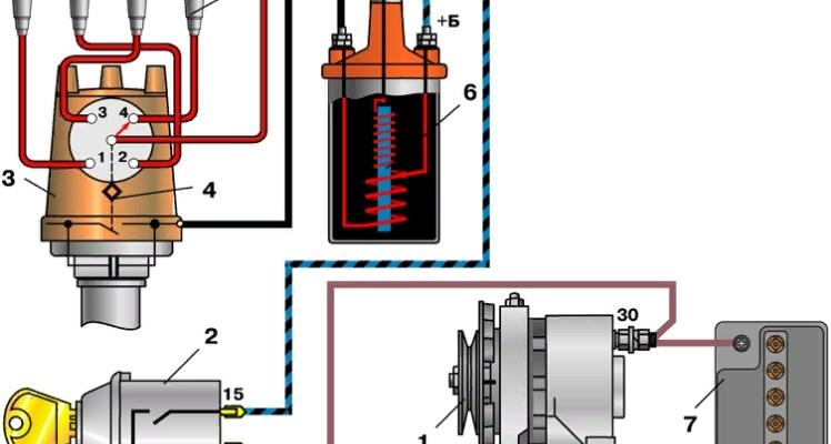 Контактная схема зажигания ВАЗ