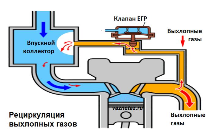 Впускной коллектор с системой рециркуляции выхлопных газов схема