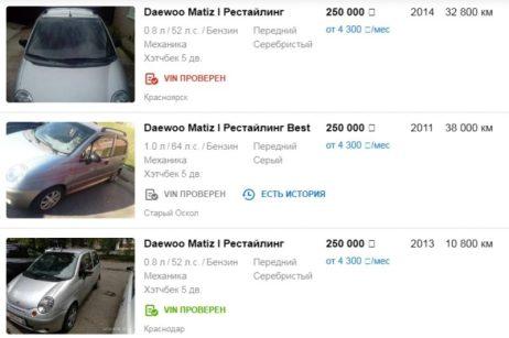 Цены на Daewoo Matiz