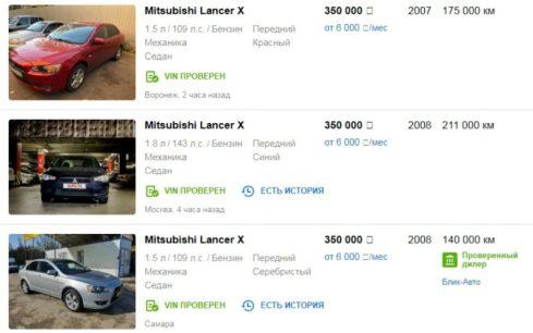 Цены на Mitsubishi Lancer