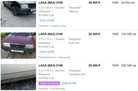 Цены на ВАЗ 2108
