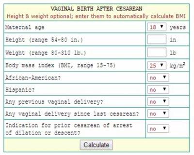 Grobman 2007 VBAC Calculator