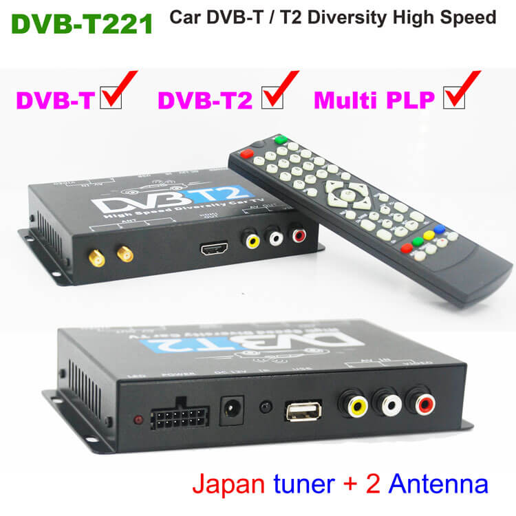 4 Way HD DVB-T MPEG4 Double Antenna Car Mobile Digital TV Receiver Top Box Tuner