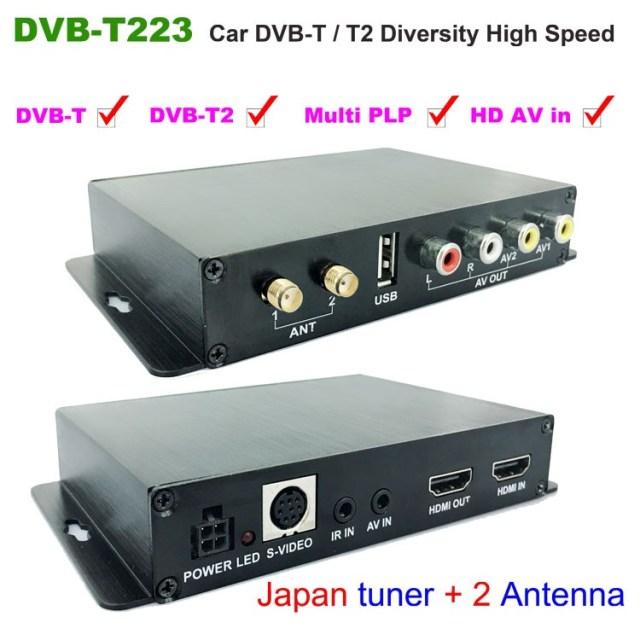 Car DVB-T2 DVB-T Multi PLP Digital TV Receiver 2 Antenna Diversity Dual Aerial H264 MPEG4 HD High Speed FTA STB 6 -