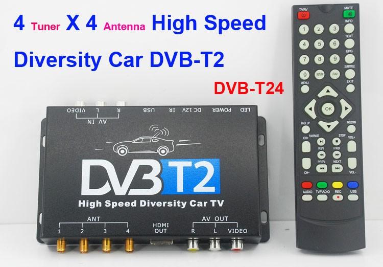 dvb t24 4 tuner 4 antenna car DVB T2 high speed diversity tv box for Russia Thailand 1