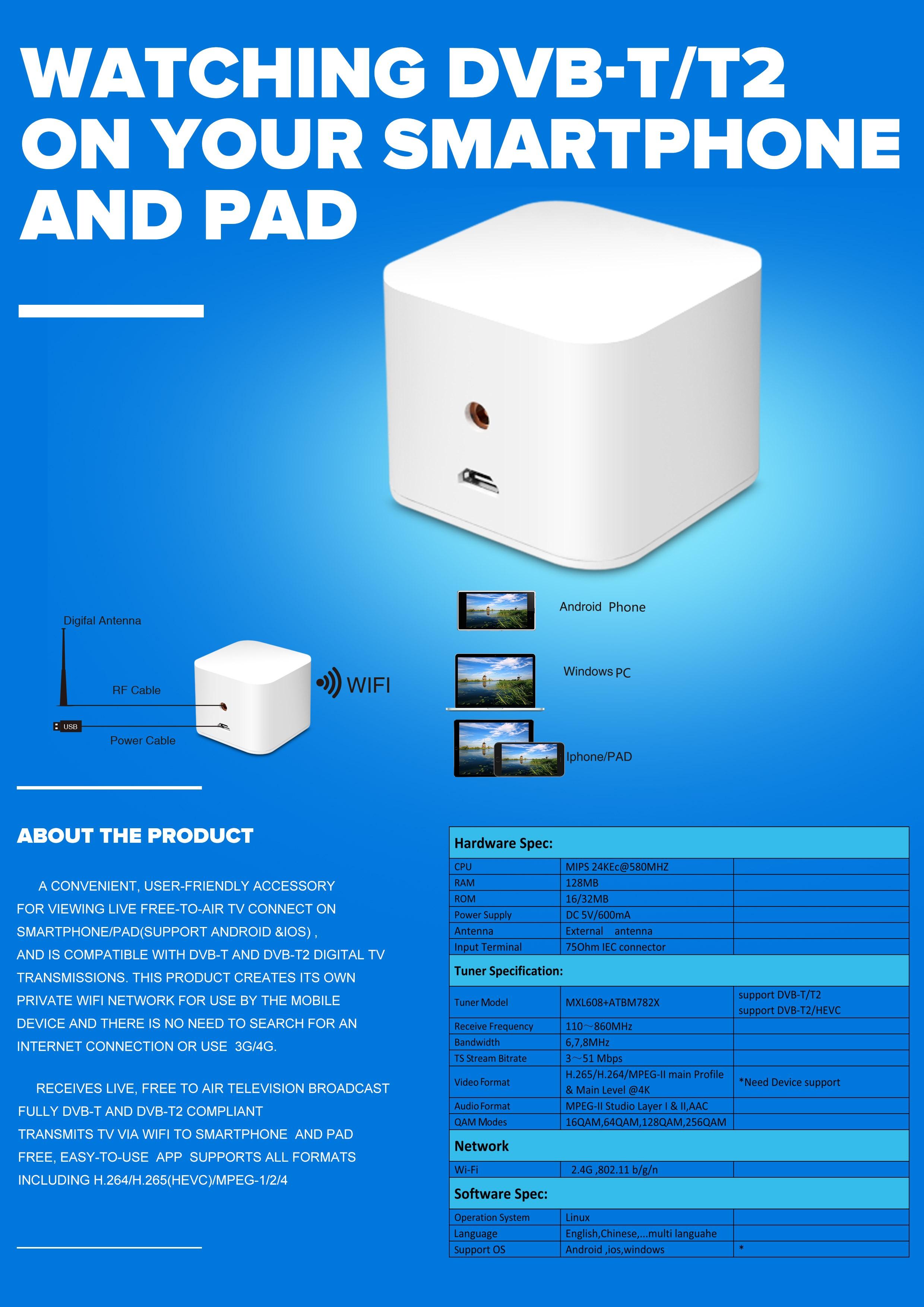 WIFI ISDB-T DVB-T2 ATSC Wireless Digital TV box for Android phone or ...
