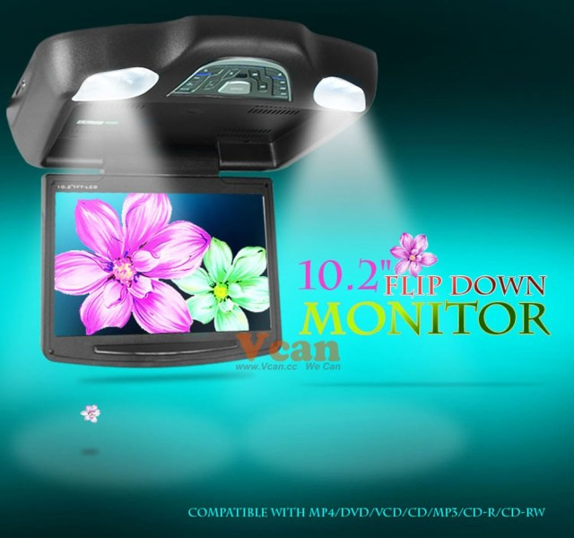 10.2 inch roof mount monitor usb sd dvd player ceiling flip down screen tm-1020 12 -