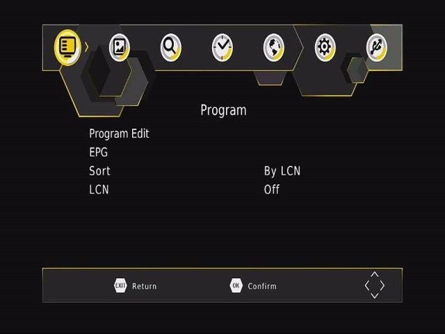 DVB-T265 Program OSD menu