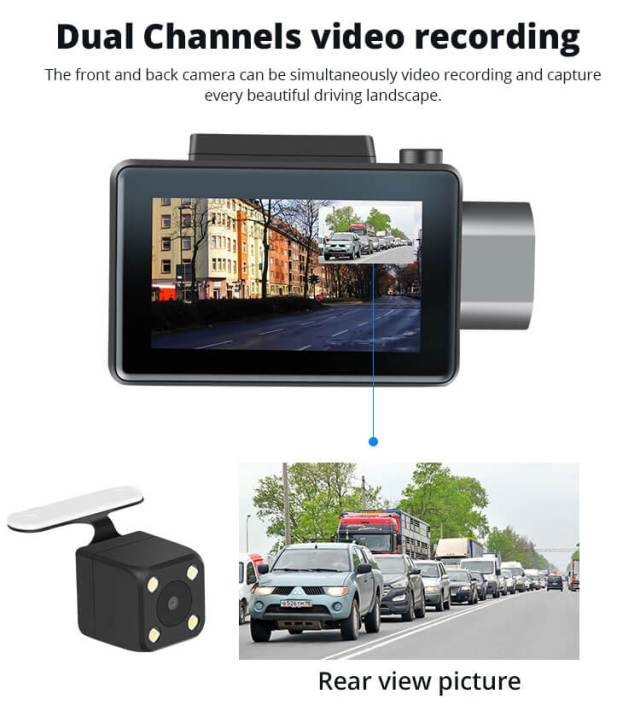 Android Dash Cam Car DVR Camera GPS Logger 3G WiFi Dual Lens WDR Video Recorder 5.1 Rearview camera Vcan1608 6 -