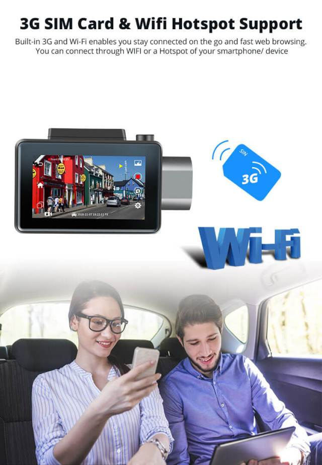 Android Dash Cam Car DVR Camera GPS Logger 3G WiFi Dual Lens WDR Video Recorder 5.1 Rearview camera Vcan1608 5 -